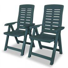 VID 2 db zöld dönthető műanyag kerti szék