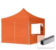 Professional összecsukható sátrak ECO 300 g/m2 ponyvával, alumínium szerkezettel, 4 oldalfallal - 3x3m narancssárga