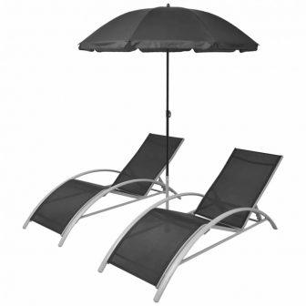 VID Fekete alumínium napozóágy szett napernyővel 106351