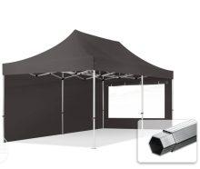 Professional összecsukható sátrak PROFESSIONAL 400g/m2 ponyvával, alumínium szerkezettel, 2 oldalfallal, panoráma ablakkal - 3x6m sötétszürke