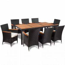 8 személyes Polyrattan kerti étkezőgarnitúra 1 fa asztallapos asztallal és 8 székkel