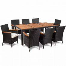 VID 8 személyes Polyrattan kerti étkezőgarnitúra 1 fa asztallapos asztallal és 8 székkel