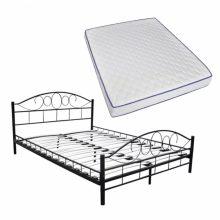 """Fém ágy 140x200 cm """"V2"""", memóriahabos matraccal, fekete színben"""