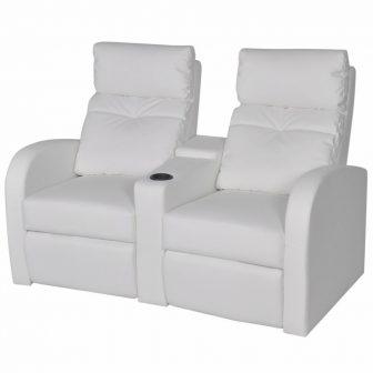 VID TV néző fotel/mozifotel pohártartóval - 2 személyes -fehér