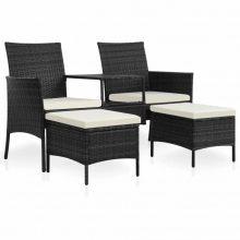 VID 7 darabos fekete fehér polyrattan kültéri ülőgarnitúra