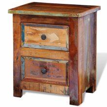 VID Antikolt hatású tömör fa 2-fiókos éjjeli szekrény