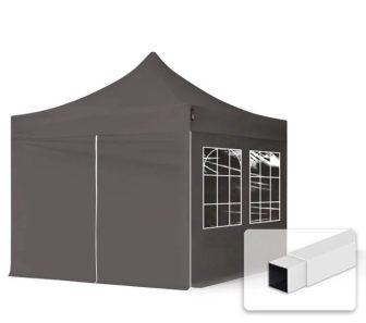Professional összecsukható sátrak ECO 300g/m2 ponyvával acélszerkezettel, 4 oldalfallal - 3x3m sötétszürke