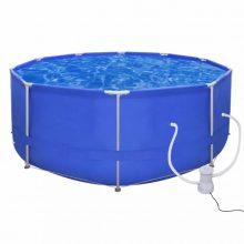 Fémvázas medence vízforgatóval [367 x 122 cm] - kerek