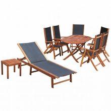 6 személyes - 9 részes akácfa/textilén kerti bútorgarnitúra