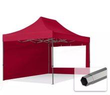 Professional összecsukható sátrak PREMIUM 350g/m2 ponyvával, acélszerkezettel, 2 oldalfallal, panoráma ablakkal - 3x4,5m bordó