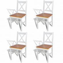 4 db-os fa étkezőszék szett fehér-barna színben