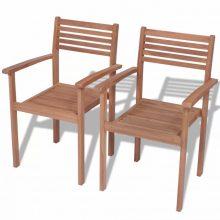 VID 2 db kültéri rakásolható tíkfa szék