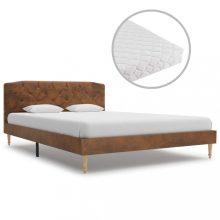 VID művelúr ágy matraccal 140x200 cm barna