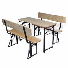 VID összecsukható fenyőfa sörasztal 2 paddal 118cm
