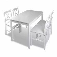 VID Fából készült asztal 4 db székkel fehér színben