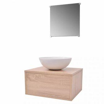 VID 3 részes fürdőszoba bútor szett ovális mosdókagylóval