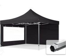 Professional összecsukható sátrak PROFESSIONAL 400g/m2 ponyvával, alumínium szerkezettel, 2 oldalfallal, panoráma ablakkal - 4x4m fekete