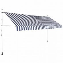 VID Manuálisan feltekerhető napellenző - 350 cm - kék fehér csíkokkal