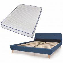 VID Kárpitozott ágy ágyráccsal, memóriahabos matraccal, 140x200 cm, kék színben