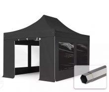 Professional összecsukható sátrak PREMIUM 350g/m2 ponyvával, acélszerkezettel, 4 oldalfallal, panoráma ablakkal - 3x4,5m fekete
