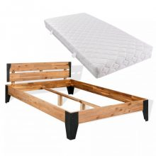VID tömör akácfa ágykeret hideghab matraccal 140x200 cm