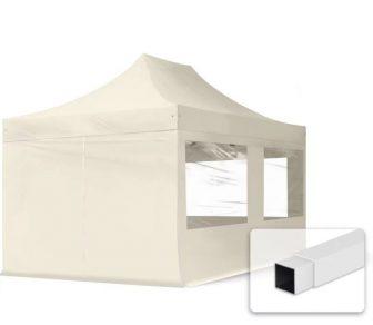 Professional összecsukható sátrak ECO 300g/m2 ponyvával, acélszerkezettel, 4 oldalfallal, panoráma ablakkal - 3x4,5m bézs