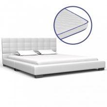 VID fehér műbőr ágy memóriahabos matraccal 140x200 cm