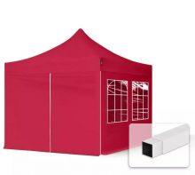 Professional összecsukható sátrak ECO 300g/m2 ponyvával, acélszerkezettel, 4 oldalfallal - 3x3m piros