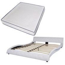 VID fehér 180x200 cm-es műbőr ágy memóriahabos matraccal