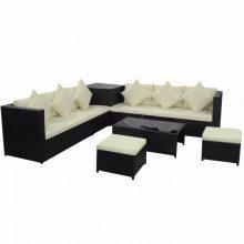 VID Lounge szett tároló ládával, 2 ülőkével fekete