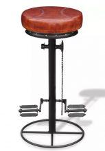 VID Barna és valódi bőr fekete bárszék bicikli pedállal 149041