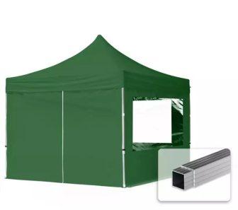 Professional összecsukható sátrak ECO 300 g/m2 ponyvával, alumínium szerkezettel, 4 oldalfallal - 3x3m zöld