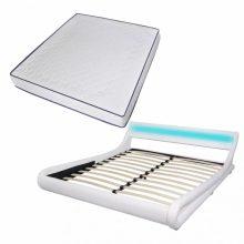"""VID PU bőr ágy 180x200 cm """"V22"""" memóriahabos matraccal, LED világítással, fehér színben"""