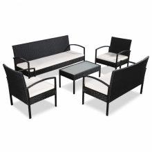 VID 9 darabos fekete-krémfehér kerti polyrattan ülőgarnitúra