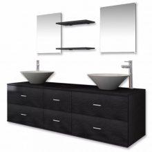 9 részes fürdőszoba bútor szett fekete színben csapteleppel, tágas szekrénnyel