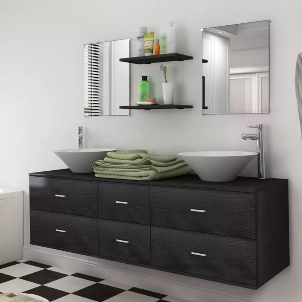 9 részes fürdőszoba bútor szett fekete színben csapteleppel, tágas szekrénnyel - Discontmania.hu