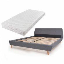 VID Kárpitozott ágy ágyráccsal, matraccal, 140x200 cm, világosszürke színben