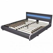 """VID PU bőr ágy 180x200 cm """"V11"""" LED világítással, ágyneműtartóval, szürke színben"""