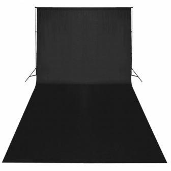 VID Hordozható fekete pamut fotóháttér 600x300 cm