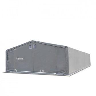 Raktársátor 8x8m professional 4m oldalmagassággal, 720g/m2 - TŰZÁLLÓ PONYVÁVAL!