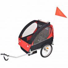 Gyerekszállító kerékpár utánfutó - 30 kg teherbírással - piros