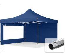 Professional összecsukható sátrak PROFESSIONAL 400g/m2 ponyvával, alumínium szerkezettel, 2oldalfallal, panoráma ablakkal - 4x4m sötétkék