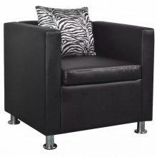 VID fekete műbőr fotel zebramintás párnával