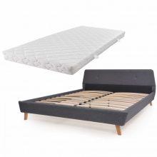 VID Kárpitozott ágy ágyráccsal, matraccal, 160x200 cm, sötétszürke színben 160428