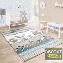 Gyerekszoba szőnyeg pasztell türkiz-bézs színekben- állat mintával - több választható méret
