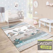 Gyerekszoba szőnyeg pasztell türkiz-bézs színekben- állat mintával
