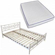"Fém ágy 140x200 cm ""V1"" memóriahabos matraccal, fehér színben"