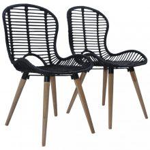 VID 2 db fekete rakásolható természetes rattan kültéri szék