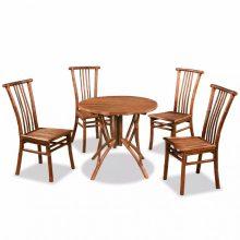 VID 5 részes bambusz étkezőgarnitúra - kör asztallal