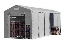 Vario raktársátor 6x12m - 3,6m oldalmagassággal-bejárat típusa: felhúzható